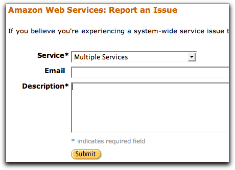 Report an Issue form